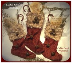free images of christmas ornies to make | ... PatternMart: Dear Santa Christmas Stocking Ornies Primitive Pattern PM
