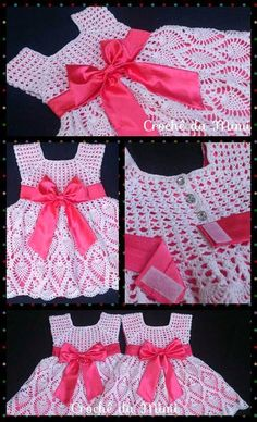 """Vestido crochê para menina 2 anos - Com gráfico ~ """"Crochê da Mimi"""""""