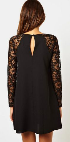 Black Contrast Lace Long Sleeve Chiffon Dress