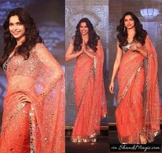 Get The Sexy Look In Mirror Saree.  How about a saree? Actress Deepika Padukone wore a mirror work mega blouse with the coral orange color silver sequined net mirror saree for the launch of the trailer Happy New Year movie. She looked admirable in this Manish Malhotra outfit with those diamond earrings and no other jewelry for her trim slim body.