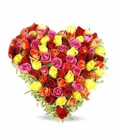IGB Be My Valentine - Heart Of 30 Assorted Roses