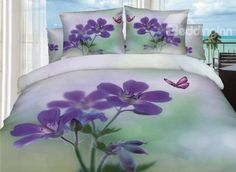 Romantic Purple Butterfly and Flower Print 3D Bedding Sets