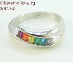 R S Covenant Rings Style #4272 Rainbow CZ Sterling Silver 925 Band Ring Size 5  #RSCovenant #Band