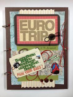 "Álbum de fotos em scrapbook  ""EuroTrip"" #tkscrapbook"