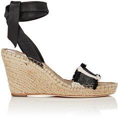 Loeffler Randall Women's Harper Striped Wedge Espadrilles (390 CAD) ❤ liked on Polyvore featuring shoes, sandals, fringe sandals, leather wedge sandals, leather platform sandals, platform espadrille sandals and high heel platform sandals