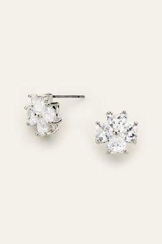 CZ Sweet Heart Earrings in Silver on Emma Stine Limited
