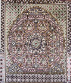 It is now known that in the Middle Ages Islamic mosaicists also discovered aperiodic tiling. Western mathematicians long believed such patterns were impossible and discovered them only in the 1960's. An aperiodic tiling does not repeat itself on any scale and appears at once regular and irregular. Astoundingly, such patterns are present in the structures of quasicrystals, exotic compounds with symmetries that can be understood as projections of regular structures in higher-dimensional space.