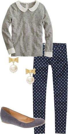 Preppy, flirty and fun - I pinned this outfit because of the Peter Pan collar, polka dot pants and bow earrings Preppy Style, Style Me, Pretty Outfits, Cute Outfits, Polka Dot Pants, Polka Dots, Work Attire, Work Fashion, Passion For Fashion