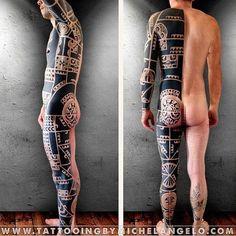 Tribal tattoo design half suit - man's body