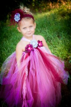 Flower Girl Tutu Dress size 6 month-3T Wedding tutu  Plum and silver with lace and flowers with Fancy Headpiece on Etsy, $65.00