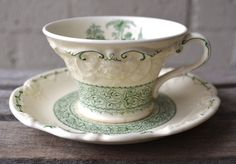 Antique Green English Transferware Cup and Saucer Marlborough Embossed