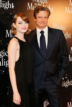 Emma Stone and British actor Colin Firth attend the 'Magic in the Moonlight' film premiere Sep 2014 Magic In The Moonlight, Emma Stone Hair, Famous Duos, Beautiful People, Beautiful Women, Colin Firth, Vintage Inspired Dresses, British Actors, One Pic