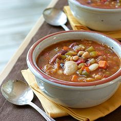 Ham and Bean Soup | MyRecipes.com #myplate #protein #vegetable