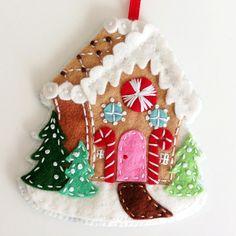 Felt Christmas Ornaments PDF Pattern Embroidered by ericahite Felt Christmas Decorations, Felt Christmas Ornaments, Noel Christmas, Handmade Ornaments, Handmade Christmas, Felt Ornaments Patterns, Beaded Ornaments, Gingerbread Ornaments, Hallmark Christmas