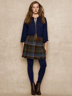 Plaid Wool Kilt - Blue Label Short Skirts - RalphLauren.com