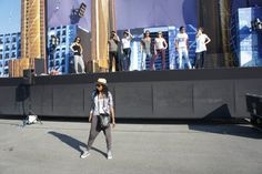 Models rehearsing with movement director Natricia on the live fashion  float