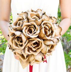 Handmade crepe Gold Rose bouquet paper flower by JJLeatherAndCraft