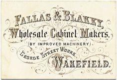 Een victoriaanse reclame voor een meubelmaker in mooie gedrukte letters.