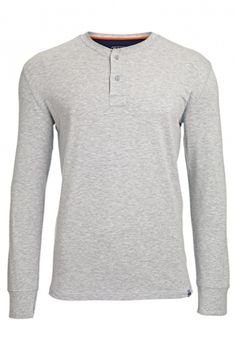 Men's Bamboo Henley Oarsman Top - Grey Marl : Bamboo Clothing
