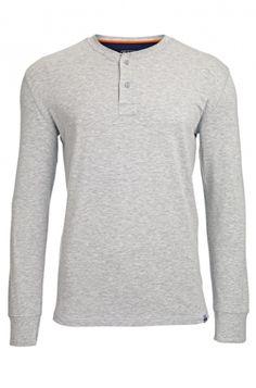 Men's Bamboo Henley Oarsman Top - Grey Marl : Bamboo Clothing
