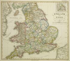 For Sale on - Map of England and Wales, Ink, Watercolor, Handmade Paper by Unknown. Offered by MAPSandART. Old Maps, Antique Maps, Vintage Wall Art, Vintage Walls, Denmark Map, World Map Art, Black White Art, Hand Coloring, Lovers Art