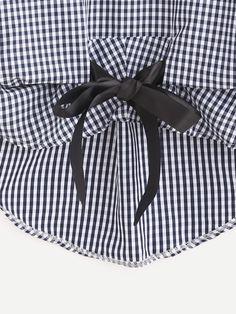 Blusa con lazo asimétrica de cuadros -Spanish SheIn(Sheinside) Sitio Móvil