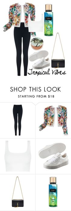 """""""Tropical Vibes"""" by calliejenkins ❤ liked on Polyvore featuring Miss Selfridge, Naeem Khan, Puma, Yves Saint Laurent and Urban Decay"""