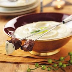 Beef Fondue with Mustard-Mayonnaise Sauce Recipe -Fondue is fun, but for me, the accompanying sauces are what make them even more delicious. This creamy, zippy sauce enhances the flavor of beef.—Ruth Peterson, Jenison, Michigan