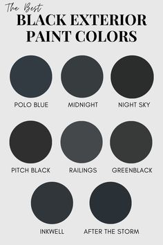 Paint your home's exterior a trendy black by selecting one of these popular black paint colors. Benjamin Moore Exterior Paint, Benjamin Moore Colors, Best Exterior Paint, Exterior Paint Colors, Paint Colours, Exterior Paint Color Combinations, Teen Girl Decor, Cheap Baths, Farmhouse Vanity