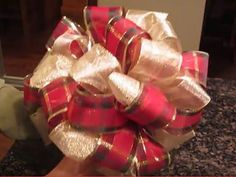 How to Make a Deco Mesh Bow- Easiest Bow Ever - Christmas Tree Topper - Wreath - YouTube