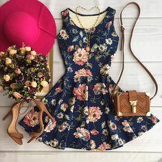 Blue Floral Pleated Sweet Round Neck Sleeveless Mini Dress