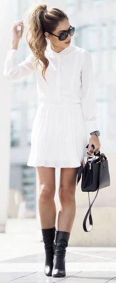 #street #style #blackandwhite #spring #inspiration | White Shirt + White Pleated Skirt + Black Booties | Lydia Elise Millen Source