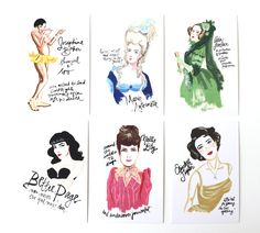 Bad Girls Throughout History Postcards #etsy