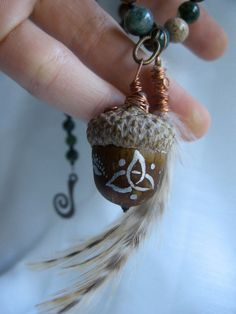 Goddess of the Forest Celtic Acorn and Feathers by EireCrescent