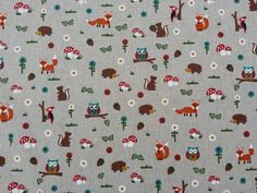 Owls Foxes Woodland Forest Birds Squirrels print linen look Vintage Cotton upholstery chair covering curtains cushions fabric Per Metre