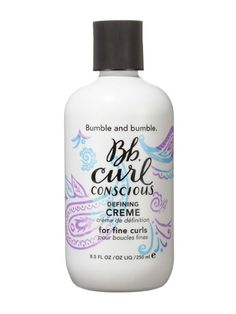 STYLING PRODUCTS  CURL DEFINER, FINE/NORMAL HAIR  Bumble and Bumble Curl Conscious Defining Creme for Fine Curls keeps drooping curls afloat.
