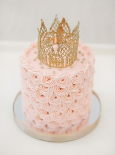 Charming Pastel Pink First Birthday Party. Love the crown for a cake topper. Easy easy -- wrap some gold lace around a cup or just in a circle and stick with starch or mod podge. Baby/little girl birthday. Pretty Cakes, Cute Cakes, Beautiful Cakes, Amazing Cakes, Pink First Birthday, First Birthday Parties, First Birthdays, Cake Birthday, Happy Birthday