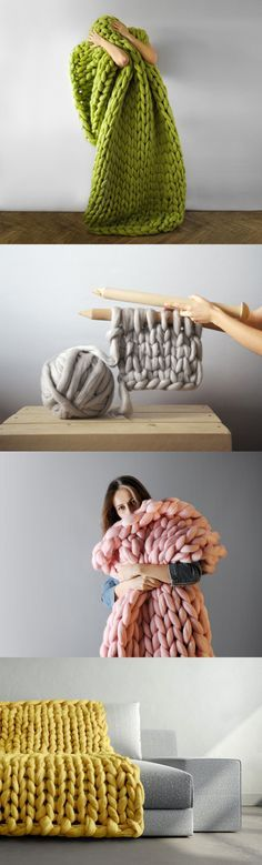 'Chunky Knits' by Anna Mo Incorporate Enormous Stitches to Comfortably Engulf the Body http://www.thisiscolossal.com/2015/06/chunky-knits-by-anna-mo/