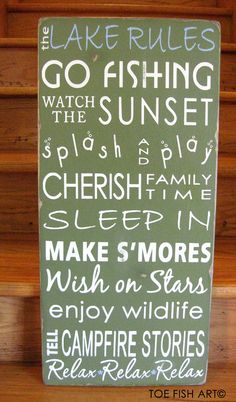 Lake House Rules Vintage Style Typography Sign by ToeFishArt