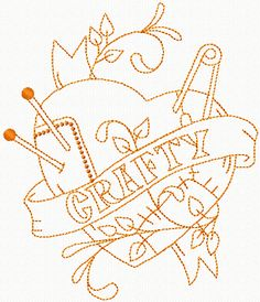 Sewing Tattoo Style Embroidery design. Would make a great tattoo also