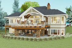 90 Modern American Farmhouse Exterior Landscaping Design - Page 61 of 93 - Decorating Ideas - Home Decor Ideas and Tips Basement House Plans, Lake House Plans, House Plans One Story, New House Plans, Dream House Plans, House Floor Plans, Walkout Basement, Garage Plans, Car Garage