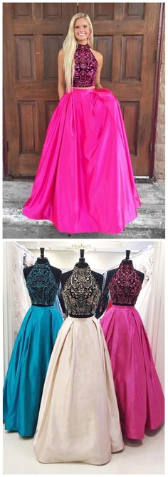 Beads Two Piece Prom Dress, Hot Pink Long Prom Dress Sexy Two Piece Prom Dresses,Long Evening Dress,Formal Dress,Beading Halter evening Dresses
