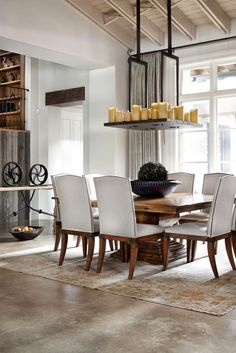 Rustic Dining Room And Living Room Interior Back To: Rustic Texas Home With Modern Design And Luxury Rustic Home Design, Modern Interior Design, Dining Room Design, Dining Room Furniture, Dining Chairs, Furniture Ideas, Dining Area, Dinning Table, Furniture Inspiration