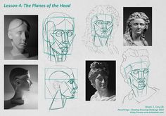 For the month of September I'm taking part in Pencil Kings Shading Drawing Challenge, with instruction from the lovely Diane Kraus. Pencil Shading Techniques, Drawing The Human Head, Planes Of The Face, Plane Drawing, Deviantart Drawings, Youtube Drawing, Shading Drawing, Shadow Face, Face Images