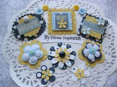 On Sale Blue Yellow and White Scrapbook Embellishments and Paper Flowers
