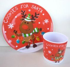 #Cookies and Milk for Santa Cup and Plate Set ~ Reindeer