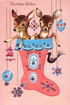 Oh deer, Christmas! Set of TWO retro deer with 4 x 6 pieces in blocks of … - Christmas Cards Vintage Christmas Images, Old Fashioned Christmas, Christmas Deer, Christmas Past, Retro Christmas, Vintage Holiday, Christmas Pictures, Christmas Greetings, Christmas Stocking