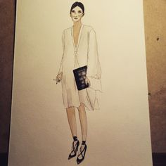 #done #fashionillustration #fashionillustrations #fashionsketch #sketching #watercolor #winsor&newton #streetfashion #whitedress