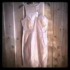 Sz.10 Champagne colored dress BNWT Brand new with tags Sz.10 Champagne colored dress BNWT. Sparkely dress notice how the dress is shaped at the neck line. Really hot dress! Doesn't fit me or I'd keep it! Miss Selfridge Dresses Midi