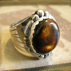 Fire Agate Ring, Sterling Silver, Sz 11.25, Handmade, Unique by HighArt on Etsy https://www.etsy.com/listing/208602644/fire-agate-ring-sterling-silver-sz-1125